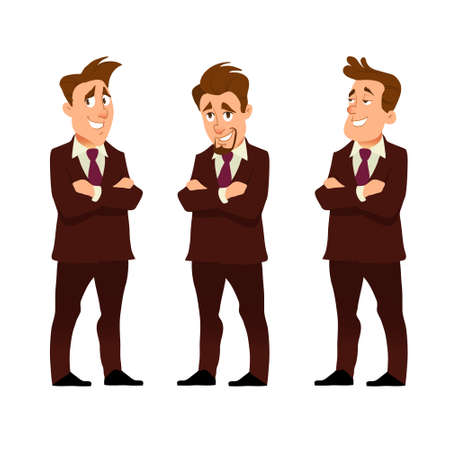 successful young businessman, character saying, front view, business, job, professional, consultant concept, suit, vector illustration