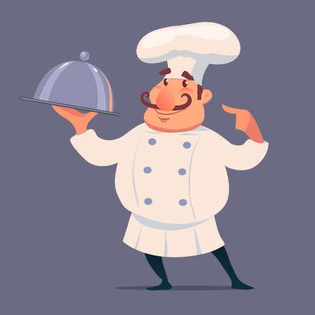 cute chef serving the dish, cartoon style, funny character, vector illustration