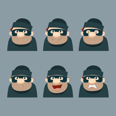 trespass: funny cartoon thief, hacker, emotions, head, vector illustration Illustration