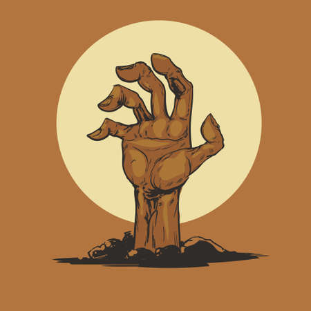 man's: Halloween, Dead Mans arm from the ground, illistration for poster, zombie party, postcard, vector Illustration