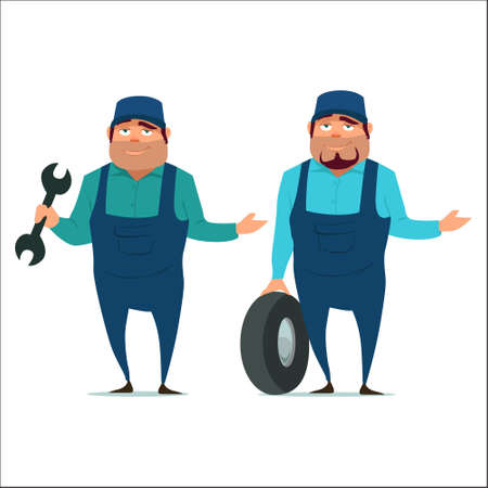 auto mechanic with wheel, happy, emotions, service, cartoon character, vector illustration