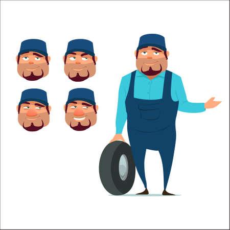 auto mechanic with wheel, happy, emotions, service, cartoon character, head, vector illustration Ilustrace