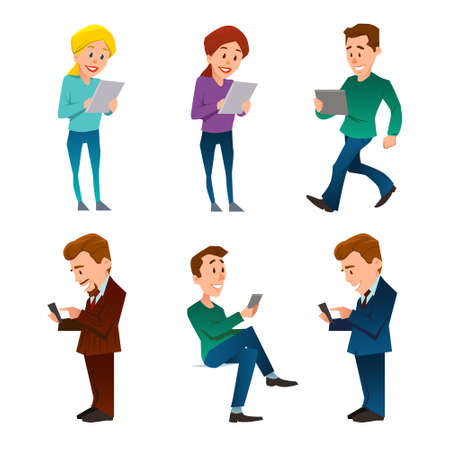 people, man and woman, using gadget, smartphone, mobile phone, tablet pc, communication concept, internet connection, cartoon character, vector illustration 向量圖像