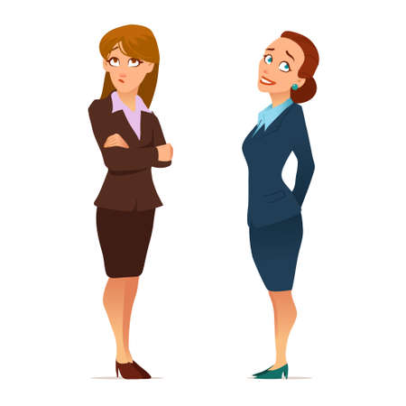 business, teacher, young women in elegant office clothes, cartoon characters, vector illustration