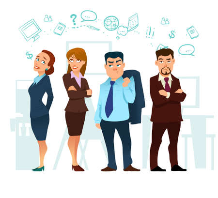 business, cartoon characters, coworking, teamwork in business office, vector illustration 矢量图像
