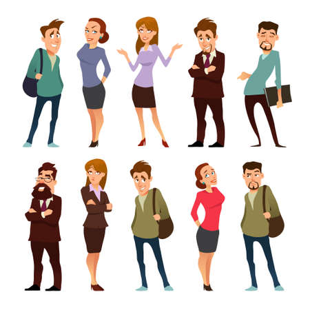 business, cartoon characters, coworking, teamwork in business office, vector illustration Illustration