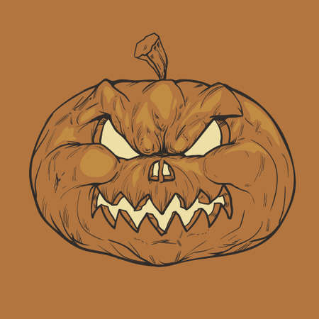 for Halloween Party pumpkin, angry, holiday, light, vector illustration