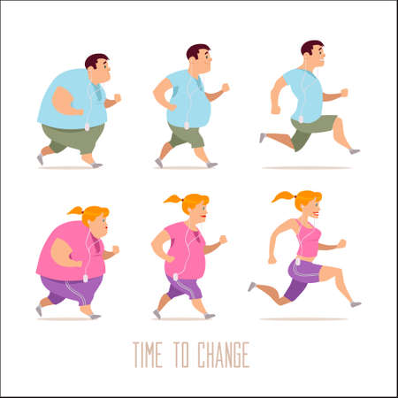 cartoon characters, different stages, fat problems, health problems, strong sport and fat people, process people, fast food problem, vector illustration Vettoriali