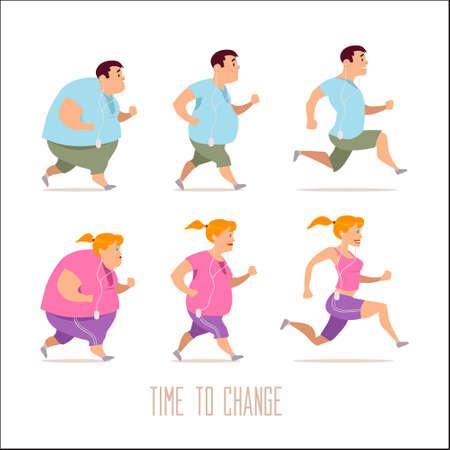 personnages de dessins animés, différentes étapes, les problèmes de graisse, les problèmes de santé, forte sport et les gens de graisse, les gens de processus, d'un problème de restauration rapide, illustration vectorielle