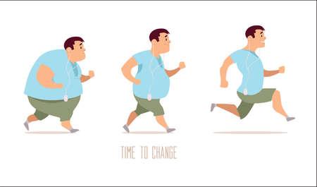 personajes de dibujos animados, las diferentes etapas, problemas de grasa, problemas de salud, deporte fuerte y la gente gorda, gente con problemas de proceso, la comida rápida, ilustración del vector Ilustración de vector
