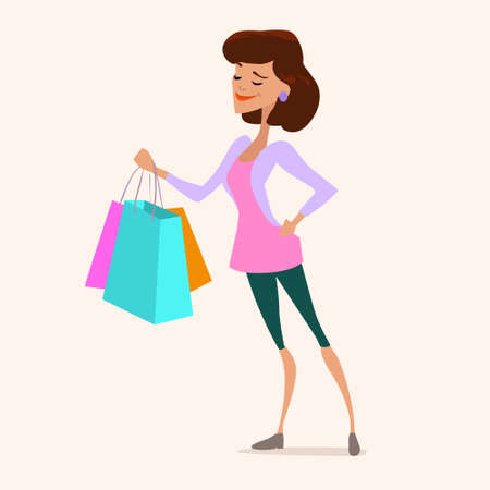 cute young fashionable woman shopping, bag, sale, cartoon character, vector illustration