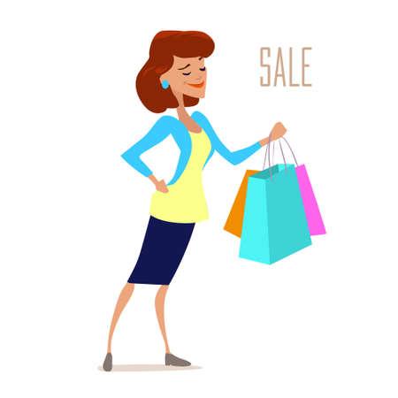 cute young fashionable woman shopping, bag, sale, cartoon character, vector illustration