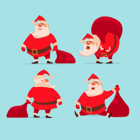 collection of Christmas Santa Claus, funny cartoon character, set, vector illustration 矢量图像
