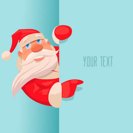 Santa Claus pointing in blue blank sign with smile, isolated, vector illustration, postcard