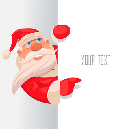 Santa Claus pointing in white blank sign with smile, isolated, vector illustration, postcard 矢量图像
