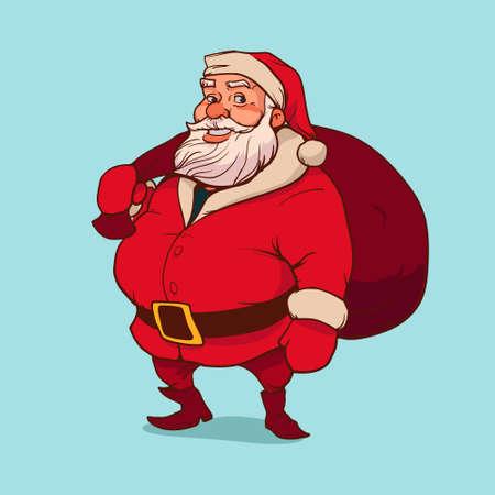 Santa Claus carrying sack full of gifts, happy, cartoon character, vector illustration
