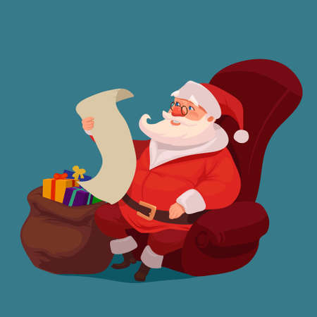 happy Santa Claus sitting at home, big sack and reading Christmas letter or wish list, character, vector illustration