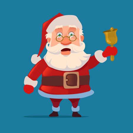 Santa Claus with bell, surprise, glasses, emotions, for postcard, character, vector illustration 矢量图像