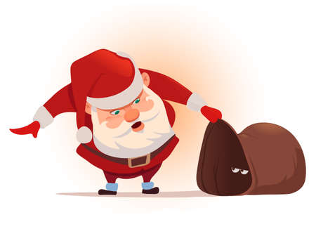 Santa Claus with big sack, for Christmas greeting card background poster, surprise, character, vector illustration. Illustration