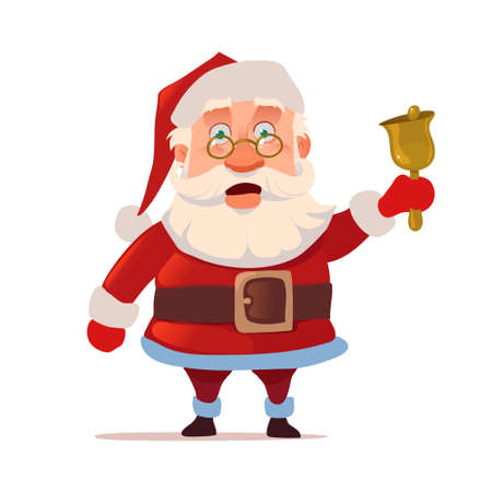Santa Claus with bell, surprise, glasses, emotions, for postcard, character, vector illustration Illustration