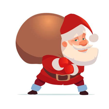 Santa Claus with big sack of gifts, for Christmas greeting card background poster, character, vector illustration. Illustration