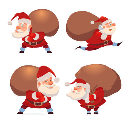 Santa Claus with big sack of gifts, for Christmas greeting card background poster, character, vector illustration. 矢量图像