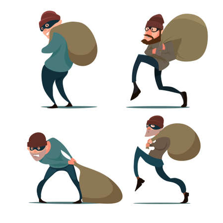 sneaking thief, in action, cartoon character, flat style, vector illustration, set