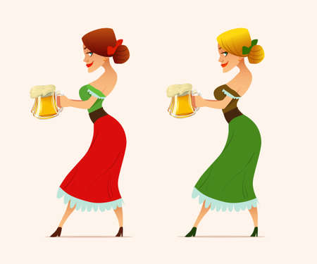 cute cartoon Oktoberfest girl, waitress, beer, woman, vector illustration Illustration