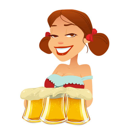 bavarian girl: cute cartoon Oktoberfest girl, waitress, beer, woman, vector illustration Illustration