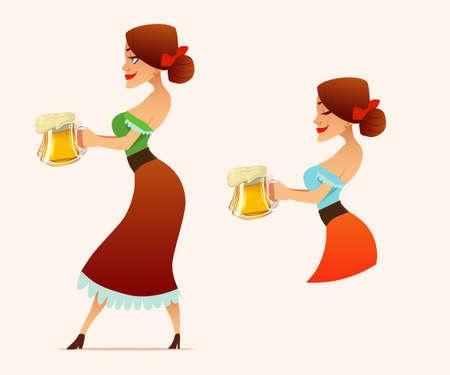 cute cartoon Oktoberfest girl, waitress, beer, woman, vector illustration Illustration