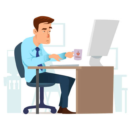 man in the office working on the computer, with cup of coffee, Internet and social networking, character, vector illustration