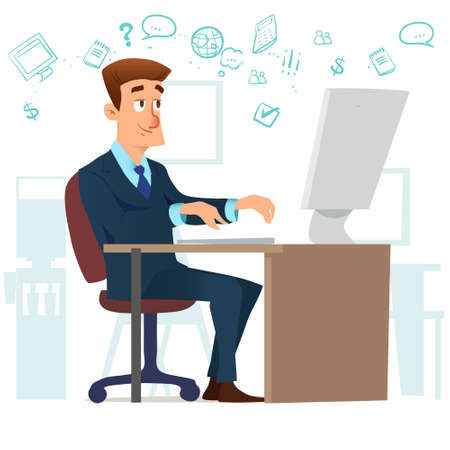 man in the office working on the computer, Internet and social networking, character, vector illustration