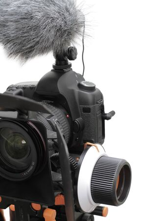 compendium: photo camera with microphone and follow focus and Compendium