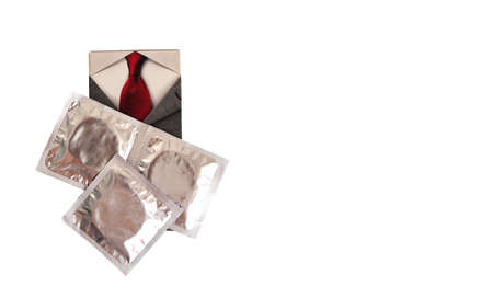 three condoms, red tie on white background