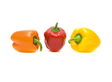 peppers of different colors on a white background Stock Photo
