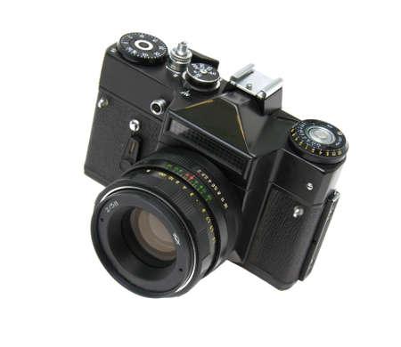 old analog SLR camera closeup on white background Stock Photo