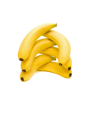 fresh bananas, close-up on a white background