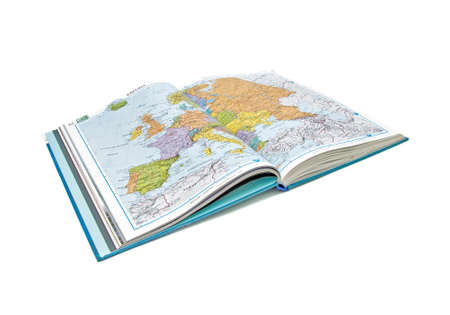 World Atlas. Closeup on a white background. Isolation.