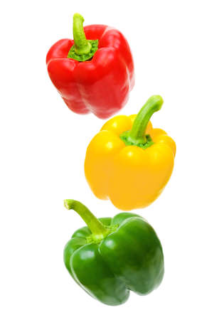 Red, yellow, green - pepper arranged in order of traffic lights.