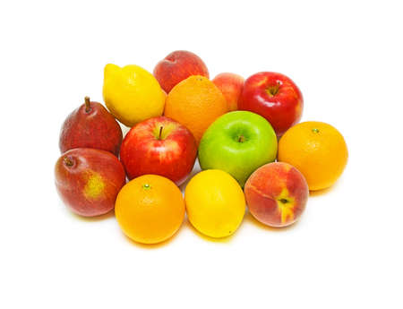 still life of fresh fruit. apples, peaches, pears, oranges and lemons on a white background Stock Photo - 9837746