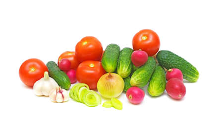 Still Life. fresh and ripe vegetables on white background.
