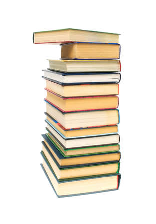 stack of books closeup isolated on white background