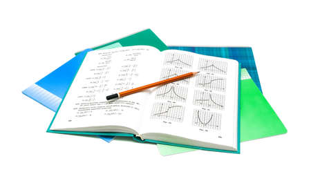 textbook, pencil and notebook isolated on white background