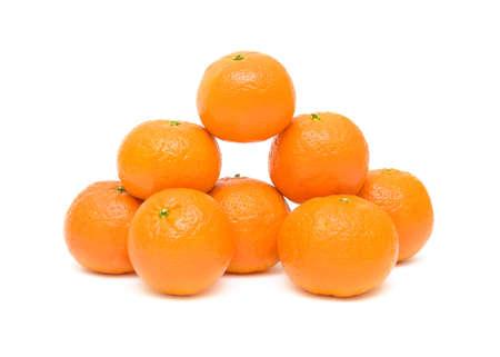 eight ripe mandarins closeup isolated on white background