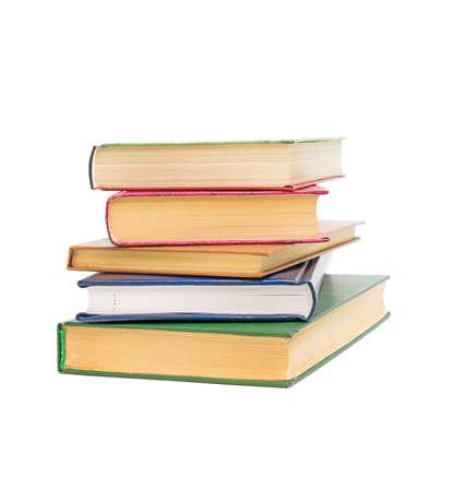 Books closeup isolated on white background Stock Photo