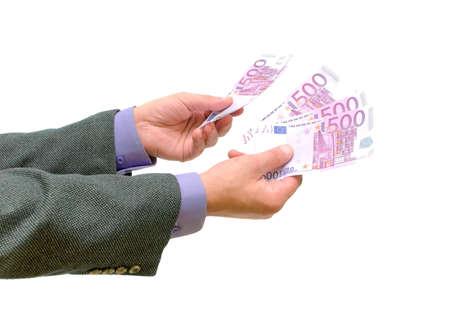 hand with euro money on white background Stock Photo - 10825000
