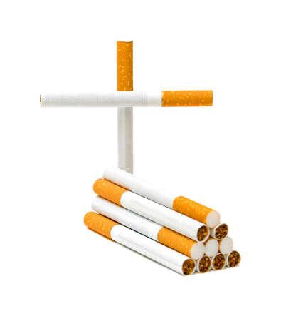 Cigarette on a white background, no smoking. Quit smoking. photo