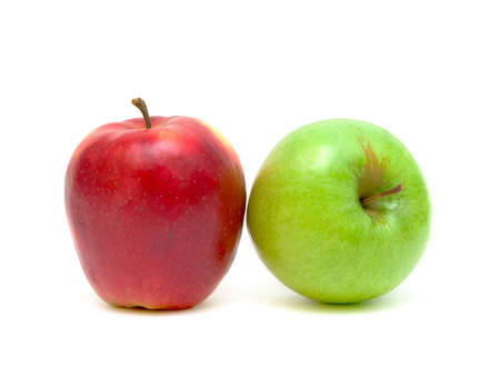red and green apples on white background close-up Stock Photo