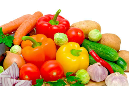still life of fresh vegetables closeup on white background Stock Photo - 11137599