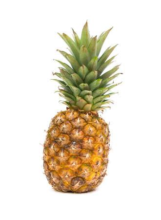 large ripe pineapple isolated on white close-up Stock Photo